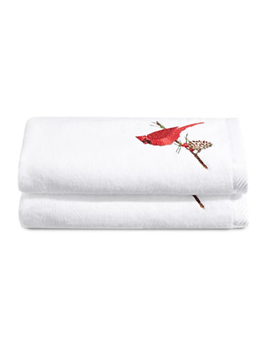 Distinctly Home Set of Two Cardinal Branch Cotton Hand Towels-WHITE-Hand Towel