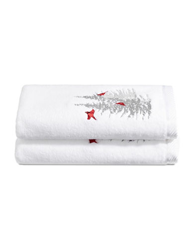 Distinctly Home Set of Two Cardinal Tree Cotton Hand Towels-WHITE-Hand Towel
