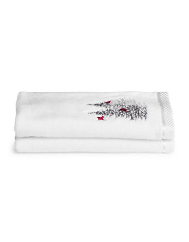 Distinctly Home Set of Two Cardinal Tree Cotton Fingertip Towels-WHITE-Finger Tip Towel