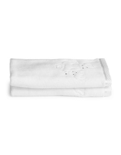 Distinctly Home Set of Two Polar Bear Cotton Fingertip Towels-WHITE-Finger Tip Towel