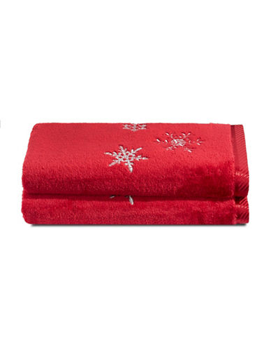 Distinctly Home Set of Two Snowflake Cotton Hand Towels-RED-Hand Towel