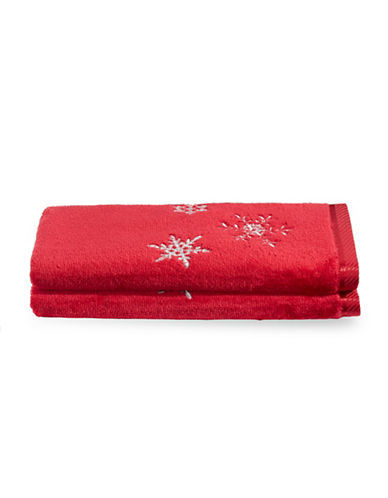 Distinctly Home Set of Two Snowflakes Cotton Fingertip Towels-RED-Finger Tip Towel