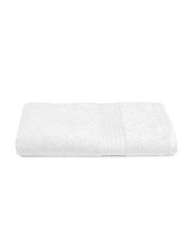 Home Studio Ribbed Border Cotton Bath Sheet-WHITE-Bath Sheet