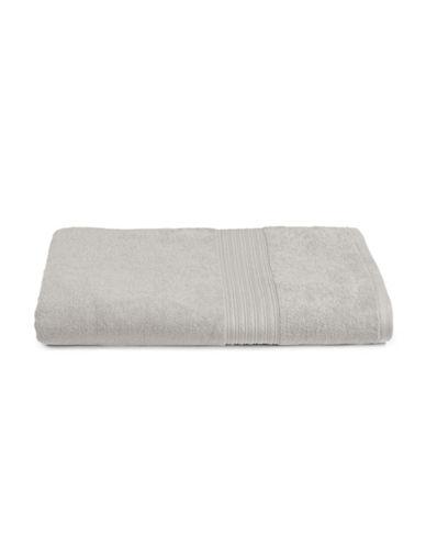 Home Studio Ribbed Border Cotton Bath Sheet-QUIET GREY-Bath Sheet