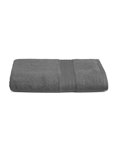 Home Studio Ribbed Border Cotton Bath Towel-FORGED IRON-Bath Towel