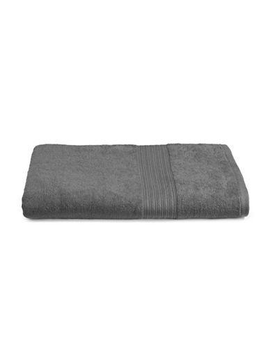 Home Studio Ribbed Border Cotton Bath Sheet-FORGED IRON-Bath Sheet