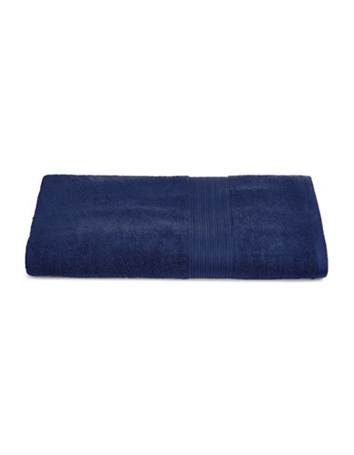Home Studio Ribbed Border Cotton Bath Towel-DRESS BLUE-Bath Towel