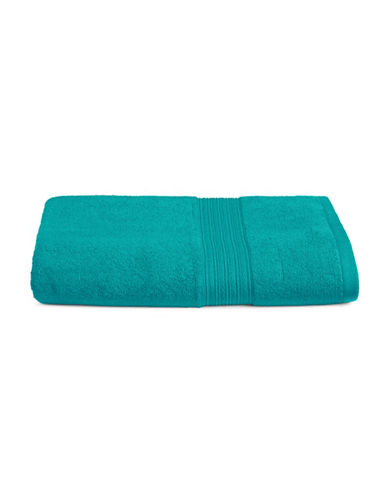 Home Studio Ribbed Border Cotton Bath Towel-PEACOCK BLUE-Bath Towel