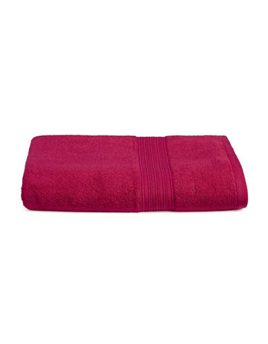 Home Studio Ribbed Border Cotton Bath Towel-MAGENTA-Bath Towel