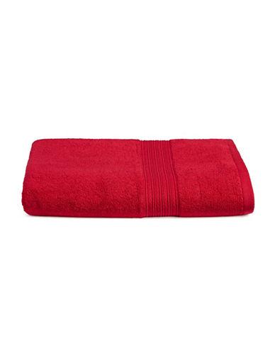 Home Studio Ribbed Border Cotton Bath Towel-RED-Bath Towel