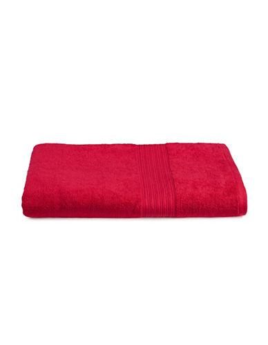 Home Studio Ribbed Border Cotton Bath Sheet-RED-Bath Sheet
