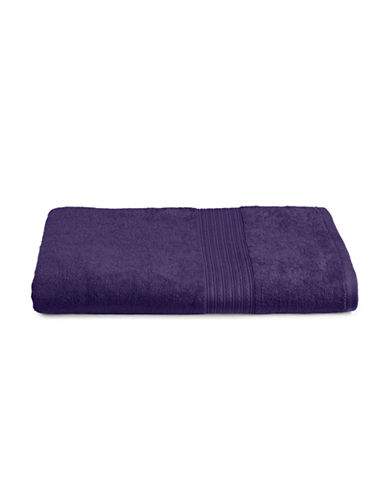 Home Studio Ribbed Border Cotton Bath Sheet-MULBERRY-Bath Sheet