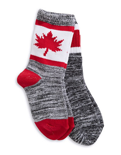 Canadian Olympic Team Collection Kids Unisex Two-Pack Cabin Socks-BLACK-7-10