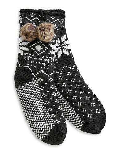 Canadian Olympic Team Collection Womens Snowflake Cozy Socks with Faux Fur Pom-Poms-GREY-One Size