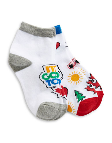 Canadian Paralympic Team Collection Boys Two-Pack Quarter Crew Socks-WHITE-7-10