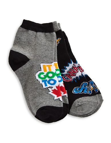 Canadian Paralympic Team Collection Girls Two-Pack Canada Crew Socks-BLACK MULTI-4-6