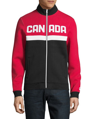 Canadian Olympic Team Collection Mens Colourblock Fleece Jacket-RED-X-Large