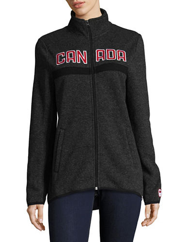 Canadian Olympic Team Collection Womens Announcement Fleece Jacket-CHARCOAL-Small