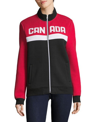 Canadian Olympic Team Collection Womens Colourblock Fleece Jacket-RED-X-Small