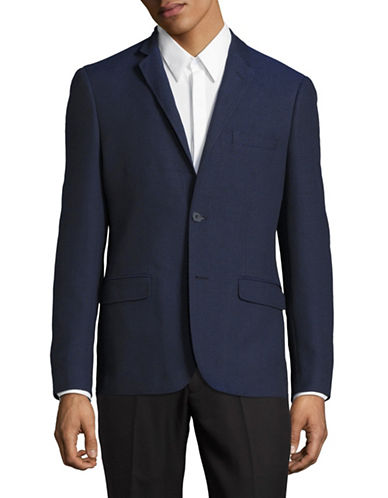 Haight And Ashbury Star Textured Woven Blazer-BLUE-36 Regular