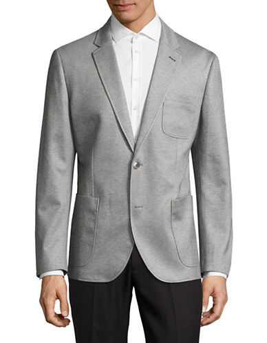 Haight And Ashbury Stretch Knit Patch Pocket Blazer-GREY-44 Regular