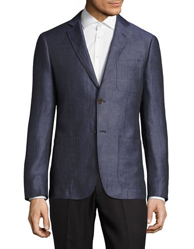Haight And Ashbury Tonal Herringbone Linen Blazer-BLUE-48 Regular