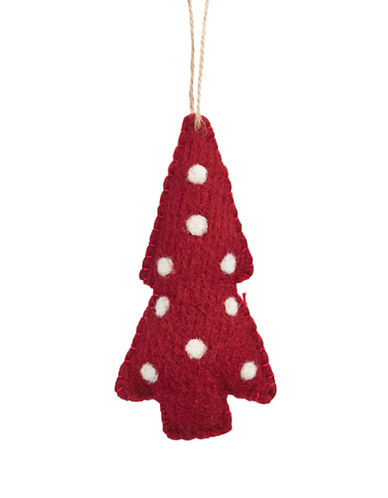 Glucksteinhome Aspen Charm Felt Plush Tree Ornament-RED-One Size