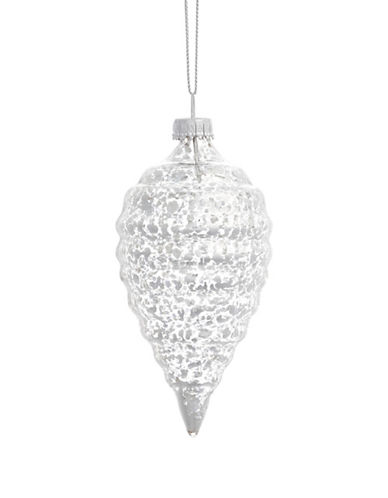 Glucksteinhome Noel Blanc Ribbed Ornament-SILVER-One Size