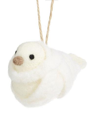 Glucksteinhome Aspen Charm Wool-Look Bird Ornament-WHITE-One Size
