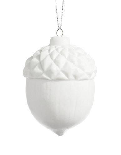 Glucksteinhome Noel Blanc Ceramic Acorn Ornament-WHITE-One Size