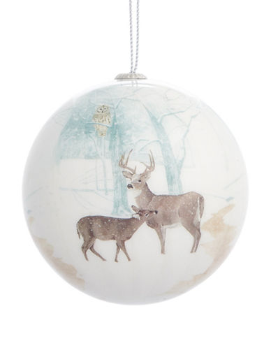 Glucksteinhome Noel Blanc Painted Deer Ornament-WHITE-One Size