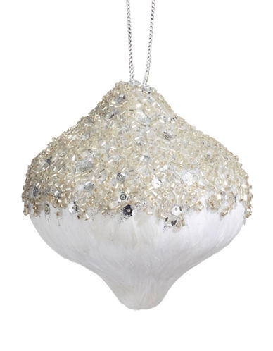 Glucksteinhome Noel Blanc Beaded Feather Ornament-SILVER-One Size