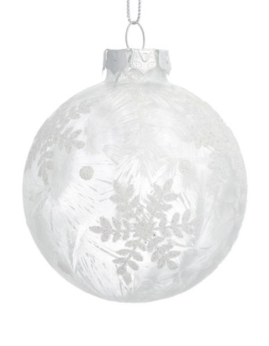 Glucksteinhome Noel Blanc Glass Snowflake Ornament-SILVER-One Size