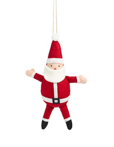 Christmas Street Winter Chalet Felt Plush Santa Ornament-RED-One Size