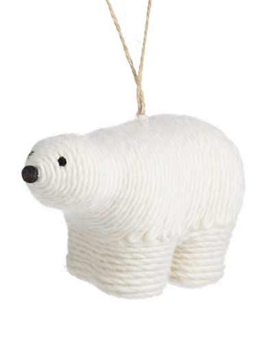 Christmas Street Winter Chalet Yarn Polar Bear Ornament-WHITE-One Size