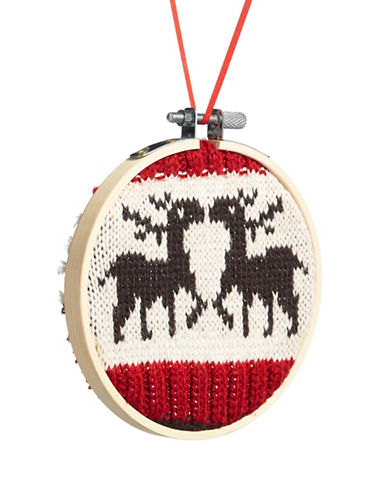 Christmas Street Winter Chalet Knit Reindeer Ornanment-MULTI-One Size