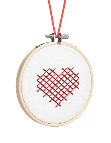 Christmas Street Winter Chalet Stitch Heart Ornament-MULTI-One Size