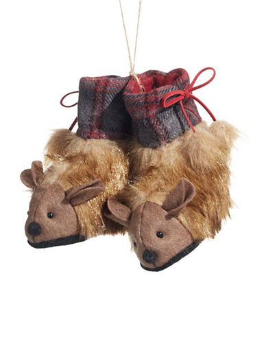 Christmas Street Winter Chalet Faux Fur Moccasins Ornament-MULTI-One Size