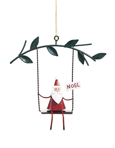 Christmas Street Winter Chalet Metal Santa Ornament-MULTI-One Size