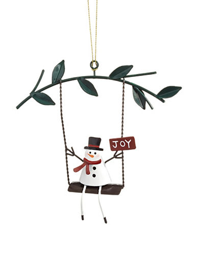 Christmas Street Winter Chalet Metal Snowman Ornament-MULTI-One Size