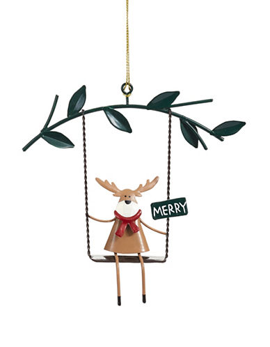 Christmas Street Winter Chalet Metal Reindeer Ornament-MULTI-One Size