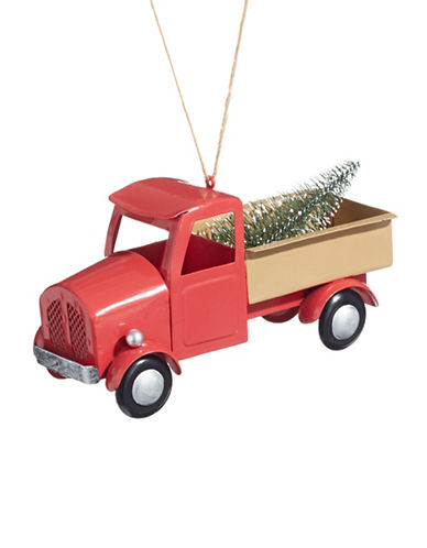 Christmas Street Winter Chalet Metal Truck Ornament-RED-One Size