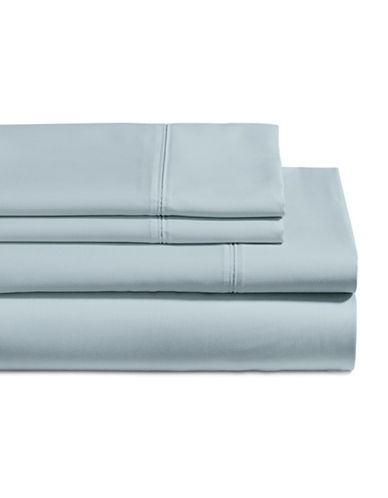 Glucksteinhome Four-Piece 650 Thread Count Wrinkle Resistant Ultra Fine Cotton Sheet Set-BLUE FOG-Queen