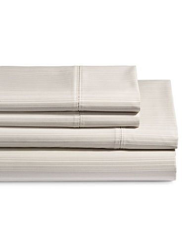 Glucksteinhome Four-Piece 650 Thread Count Wrinkle Resistant Striped Pattern Sheet Set-TAUPE-Double