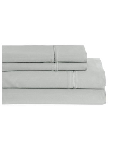 Glucksteinhome Four-Piece Davenport Egyptian Cotton Sheet Set-LIGHT GREY-Queen
