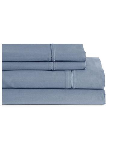 Glucksteinhome Four-Piece Davenport Egyptian Cotton Sheet Set-BLUE-Queen