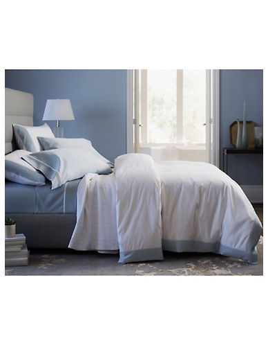 Glucksteinhome Estate 800 Thread-Count Egyptian Cotton Duvet Cover-WHITE-Queen