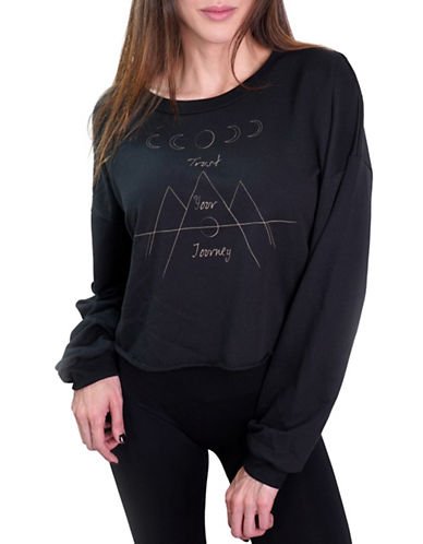 Neoclassics Desert Love Journey Cropped Sweatshirt-BLACK-Small