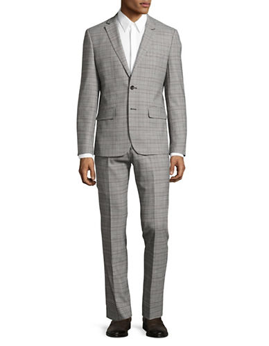 Haight And Ashbury Wool-Blend Plaid Suit-GREY-42 Regular