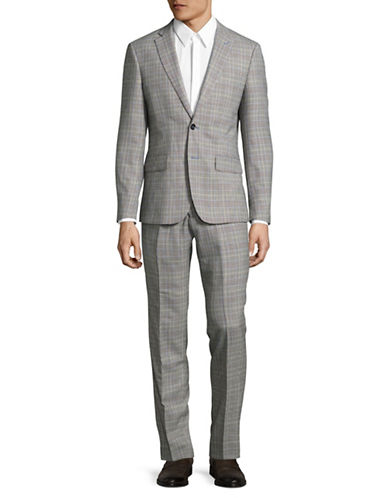 Haight And Ashbury Glen Plaid Wool Suit-GREY-42 Regular